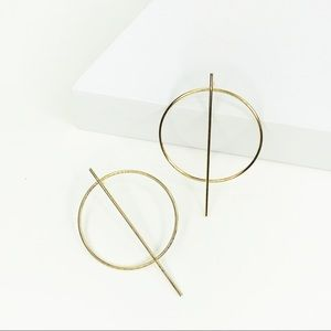 CLOSET REHAB Jewelry - RESTOCKED Gold Hoop with Vertical Geo Bar